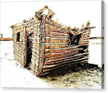 Canvas Print featuring the photograph Adobe Shack 2 by Lin Haring