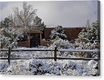 Canvas Print featuring the photograph Adobe Snow by Gina Savage