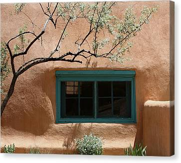 Adobe Window In Green Canvas Print by Heidi Hermes