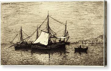 Coasting Canvas Print - Adolphe Appian, French 1818-1898, Coasting Trade Vessels by Litz Collection