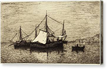 Coasting Canvas Print - Adolphe Appian French, 1818 - 1898, Coasting Trade Vessels by Quint Lox