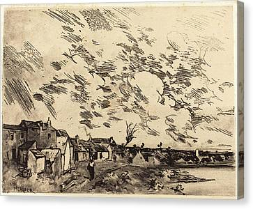 Riviere Canvas Print - Adolphe Hervier French, 1818 - 1879, Village Sur Le Bord by Quint Lox