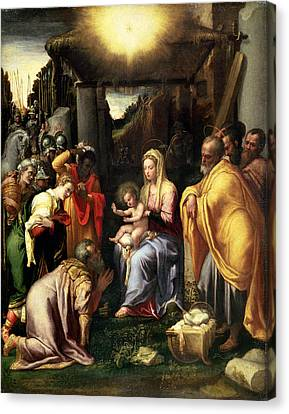 Nativity Canvas Print - Adoration Of The Kings by Taddeo Zuccaro
