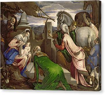 Adoration Of The Magi Canvas Print by Jacopo Bassano