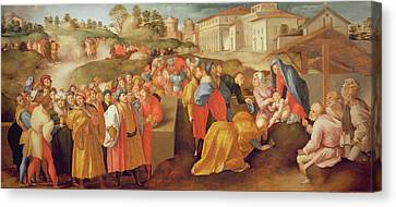 Adoration Of The Magi, Known As The Benintendi Epiphany Oil On Panel Canvas Print by Jacopo Pontormo