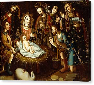 Adoration Of The Sheperds Canvas Print by Gaspar Miguel de Berrio