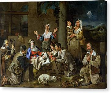 Adoration Of The Shepherds Canvas Print by Jean Michelin
