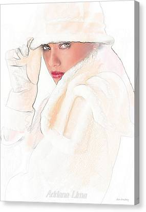Adriana Lima Art Nouveau Canvas Print by Alan Armstrong