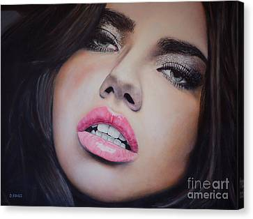 Adriana Lima Oil On Canvas Canvas Print by David Rives