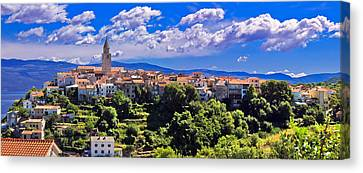 Adriatic Town Of Vrbnik Panoramic View Canvas Print
