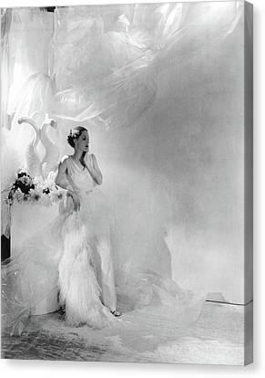 Full-length Portrait Canvas Print - Adrienne Ames Wearing A Grecian Gown by George Hoyningen-Huene