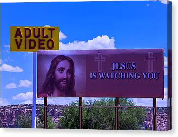 Adult Video With Billboard Canvas Print by Garry Gay