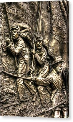 Advancing The Colors - State Of Delaware Monument Gettysburg Detail-a Autumn Mid-day Canvas Print by Michael Mazaika