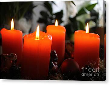 Canvas Print featuring the photograph Advent Candles Christmas Candle Light by Paul Fearn