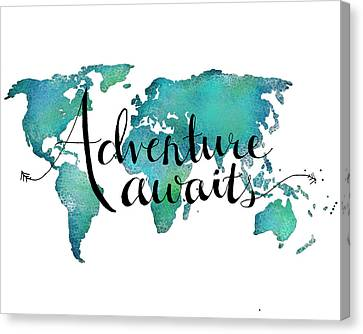 Writing Canvas Print - Adventure Awaits - Travel Quote On World Map by Michelle Eshleman