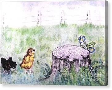 Adventurous Chicks Canvas Print by Francine Heykoop