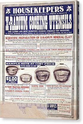 Advert For X-radium Cooking Pots Canvas Print by Library Of Congress