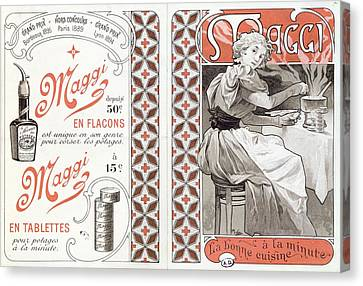Advertisement For Maggi, Late 19th Century Colour Litho Canvas Print by Alphonse Marie Mucha