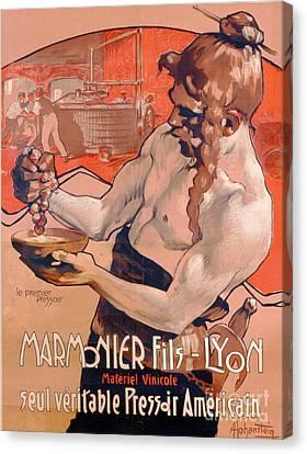 Wine Making Canvas Print - Advertisemet For Marmonier Fils Lyon by Adolfo Hohenstein