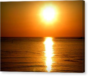 Canvas Print featuring the photograph Aegean Sunset by Micki Findlay