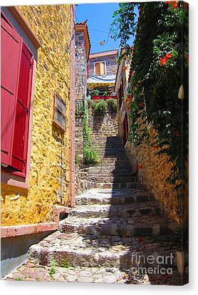Canvas Print featuring the photograph Aegean Village Idyll by Andreas Thust