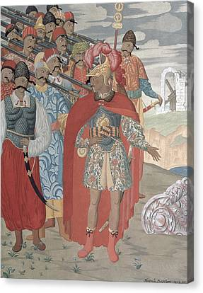 Aeneas And His Soldiers, 1919 Colour Engraving Canvas Print by Georgy Narbut