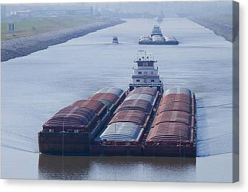 Aep Tow Passing Through The Chain Of Rocks Canal Canvas Print by Garry McMichael