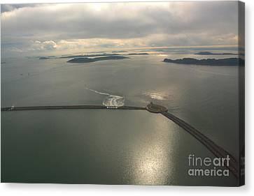 Aerial Causeway Canvas Print by Deborah Smolinske