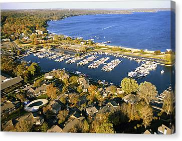 Aerial Of The Abbey Harbor - Fontana Wisconsin Canvas Print by Bruce Thompson
