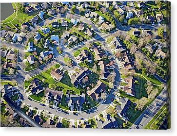 Front Steps Canvas Print - Aerial Pattern Of Residential Homes by Panoramic Images