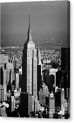 Aerial Shot Of Empire State Building New York City Usa Canvas Print by Joe Fox