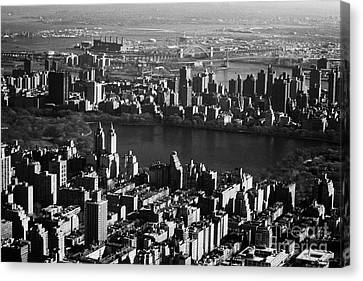 Aerial Shot Of Jacqueline Kennedy Onassis Reservoir In Central Park New York City Manhattan Canvas Print by Joe Fox