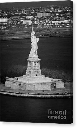 Aerial Shot Of The Statue Of Liberty Island New York Nyc Canvas Print by Joe Fox