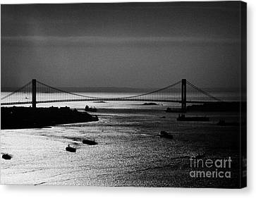 Aerial Shot Ships Navigate New York Bay Harbor Under Verrazano Narrows Bridge New York Canvas Print by Joe Fox