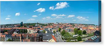Aerial View Of A City, Aarhus, Denmark Canvas Print by Panoramic Images