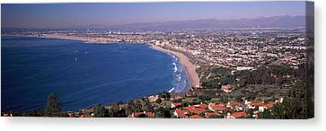 Aerial View Of A City At Coast, Santa Canvas Print