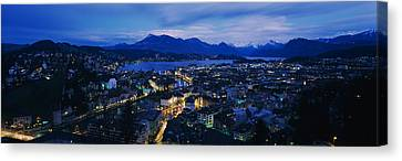 Aerial View Of A City At Dusk, Lucerne Canvas Print by Panoramic Images