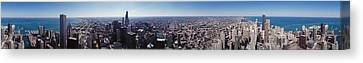 Aerial View Of A City, Chicago River Canvas Print by Panoramic Images