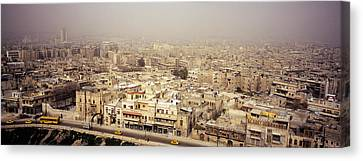 Aerial View Of A City In A Sandstorm Canvas Print