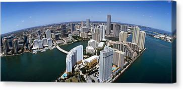 Aerial View Of A City, Miami Canvas Print by Panoramic Images