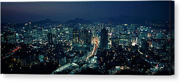 Aerial View Of A City, Seoul, South Canvas Print