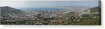 Aerial View Of A City, Table Mountain Canvas Print by Panoramic Images