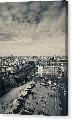 Aerial View Of A City Viewed From Notre Canvas Print