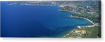 Aerial View Of A Coastline, Cote Dazur Canvas Print by Panoramic Images
