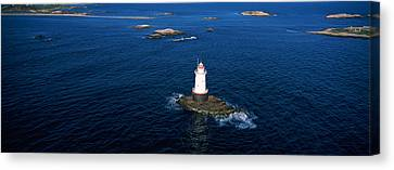 Aerial View Of A Light House, Sakonnet Canvas Print by Panoramic Images