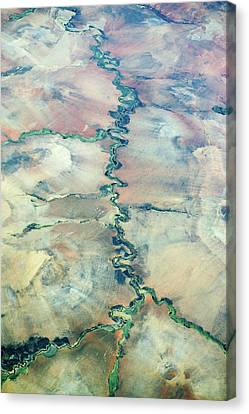 Aerial View Of A River Canvas Print by Dr P. Marazzi