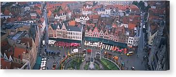 Aerial View Of A Town Square, Bruges Canvas Print by Panoramic Images