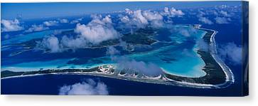 Aerial View Of An Island, Bora Bora Canvas Print