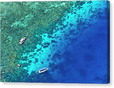 Aerial View Of Beach, Palau Canvas Print by Keren Su