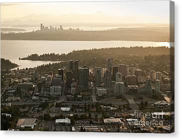 Aerial View Of Bellevue Skyline Canvas Print
